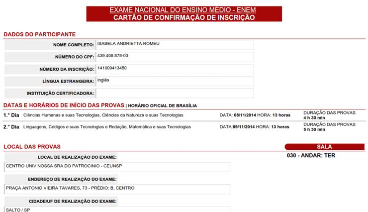 Cartão de Confirmação ENEM 2022
