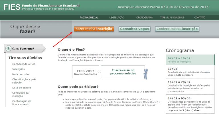 Inscrição no Portal FIES 2022