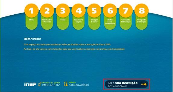 """1- Acessar a página Oficial do ENEM 2022 e clicar no botão """"Faça sua Inscrição"""""""