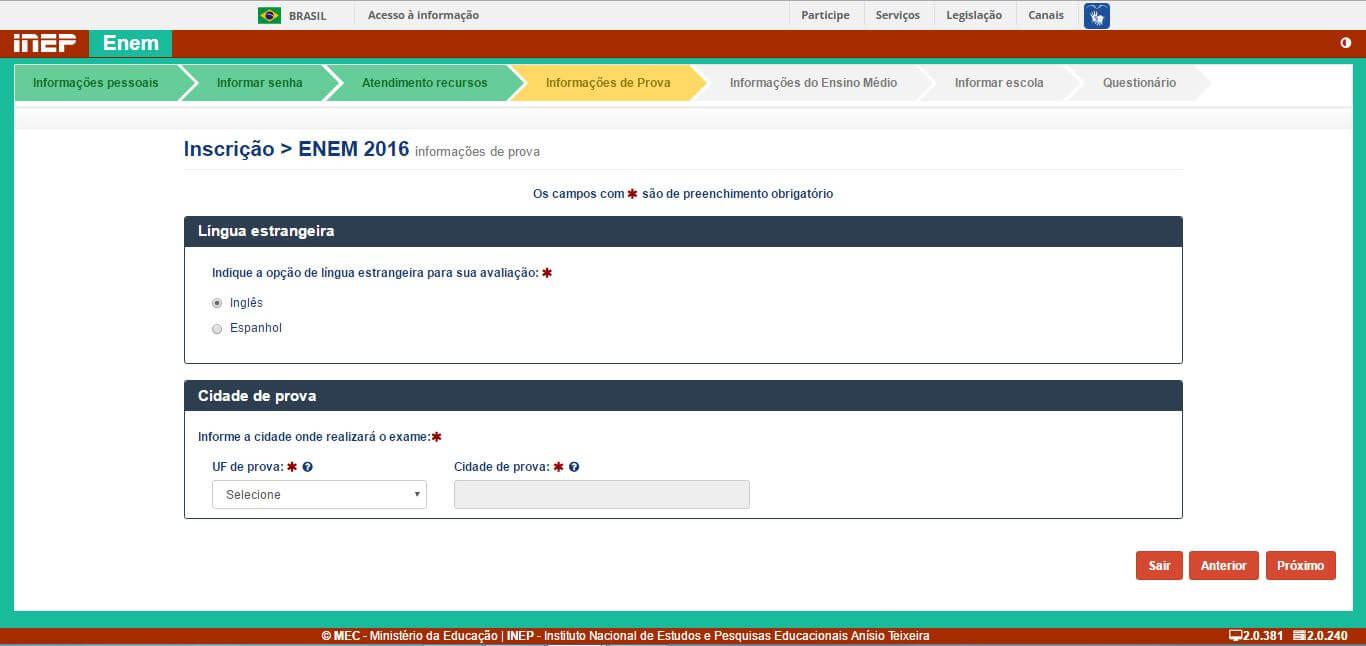 7 - Escolha a língua estrangeira da sua prova e informe a cidade onde deseja realizar o exame