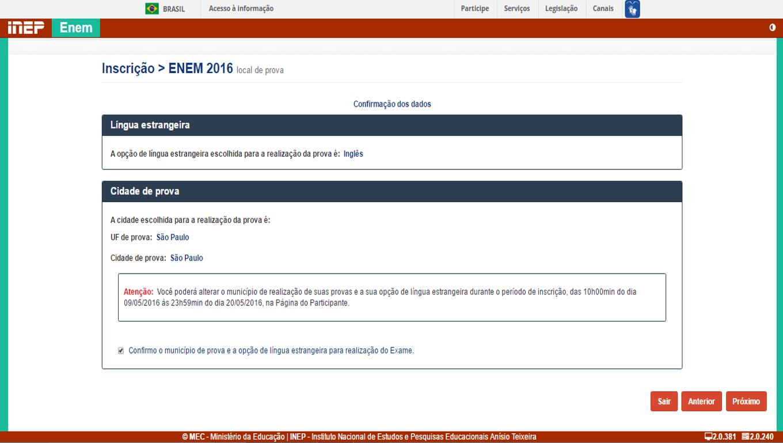 8 - Confirme os dados de Opção de língua estrangeira para prova e local da prova do ENEM