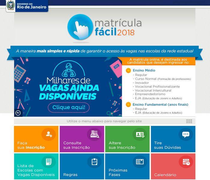 Matrícula Fácil RJ 2022